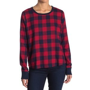 Melrose & Market Navy Red Buffalo Plaid Sweater